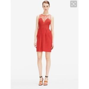 Sandro L Red Orange Lace Sweetheart Mini Dress
